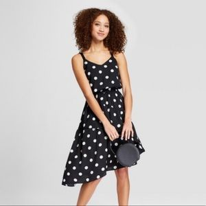 A New Day Polka Dot Asymmetrical Tiered Dress